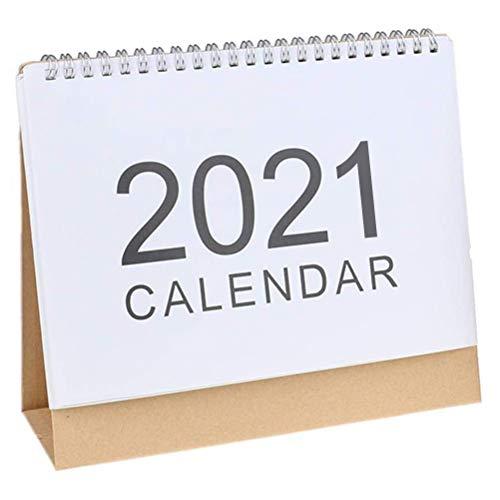 QoFina Schreibtisch Kalender 2021 Desktop Standing Flip Monatskalender Ganzes Jahr 2021 Kalender für Home Office Mini Tischkalender