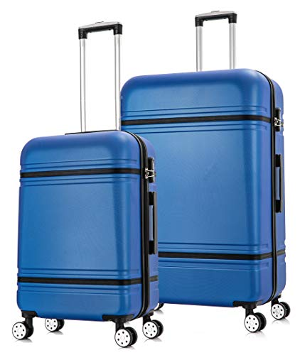 Starlite Luggage ABS147 Set of 2 Large and Cabin Hard Shell Suitcase 4 Wheel Spinner Blue