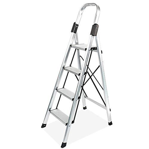 QFF Ingeniería Interior marco de la escalera, Carga Pesada de aleación de aluminio escalera de tijera plegable ultra ligero 4 Escalera plegable de construcción doblez (Size : 45.5 * 68.5 * 134.5)