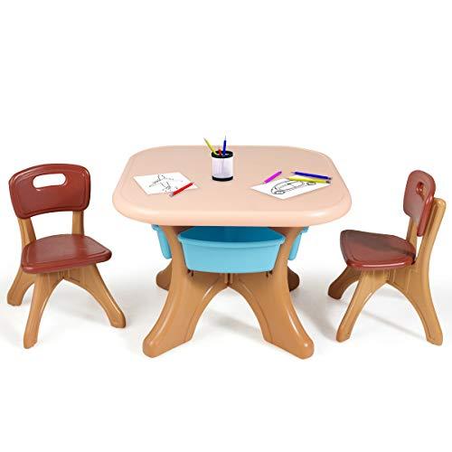 COSTWAY Sitzgruppe Kinder, 3tlg. Kindersitzgruppe, Kindertisch mit 2 Kinderstühlen, Kindertischgruppe PE, mit Aufbewahrungsboxen (Braun)