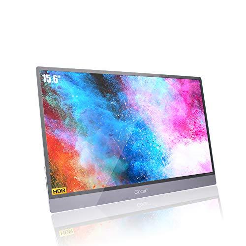 Cocar Tragbarer Monitor, 15,6-Zoll-HDR-Bildschirm IPS Portable Monitor 1920x1080P USB-C-Spiegelung 5mm Ultra Dünn USB-C/Typ-C HDMI für PC, Handy Xbox, PS4, Switch usw, Doppelt Lautsprecher