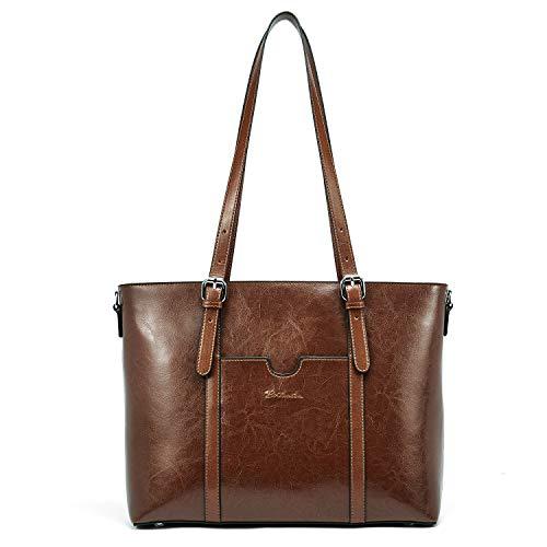 Muttertagsgeschenk BOSTANTEN Damen Ledertaschen Schultertasche Frauen Designer Handtasche 14 15.6 Zoll Laptoptasche Tote Bag Dunkel Braun