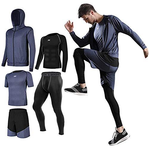 Lachi Herren 5 Stücke Sport Anzug Schnell Trocken Joggen Kleidung Strumpfhosen Laufanzüge Kompression Shirt Gym Training Lauf Trainingsanzüge