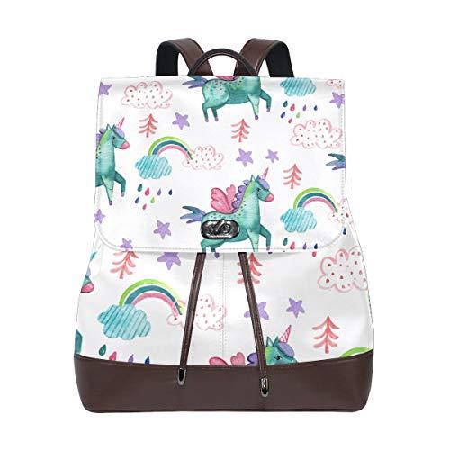 DEZIRO Cuir Rainbow Unicorn Lot de l'école Sacs à Dos Sac de Voyage
