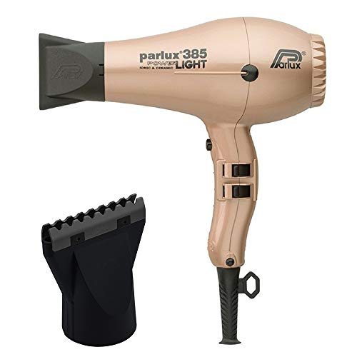 Parlux 385 Light Gold Powerlight Ionic and Ceramic and M Hair Designs Hot Blow Attachment Black (Bundle - 2 Items)