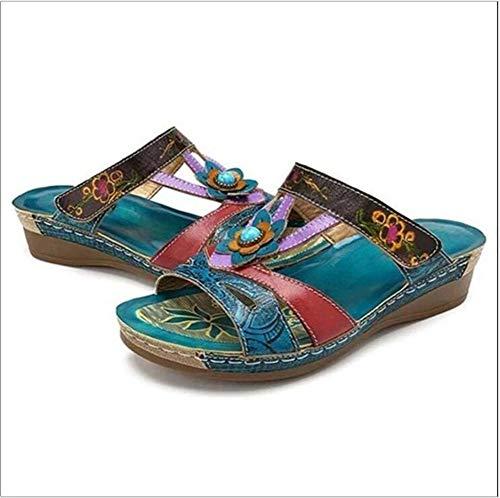 MIAOXIAO Hausschuhe Damen Sandalen Keilsandaletten Sandals Ethno Bequeme Open Toe Sandals Sommer Freizeitsandalen Flip Flops,37