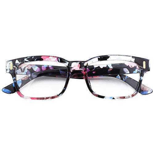 CGID CN84 Modebrille ohne St?rke klar Nerd Clear Brille,Mehrfarbig