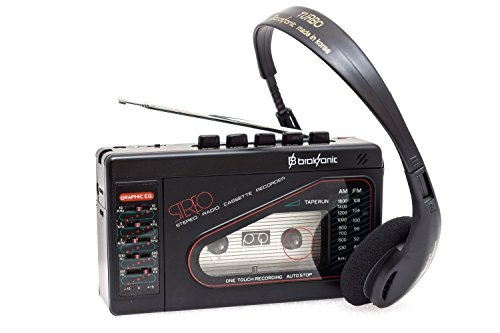 Broksonic Walkman AM/FM Stereo Cassette Recorder with Dynamic Stereo Headphones