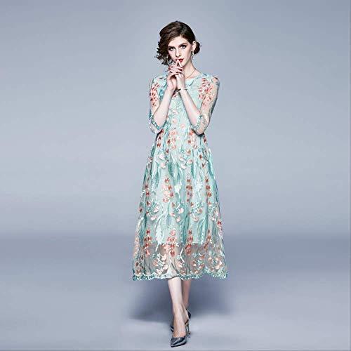 QUNLIANYI Elegantes hellgrünes rosa Blumenstickerei-Kleid Spitzen-Netzkleid Frauen Lässig O-Ausschnitt Halbarm Damen Partykleid XL