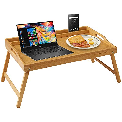 Vaiyer Home Bamboo Breakfast Bed Lap Tray Laptop Desk with Media, Tablet, Phone Holder and Foldable Legs, Fits up to 17.3 Inch Laptops and Most Tablets, for Sofa, Bed, Office, Work Table, Snack Tray