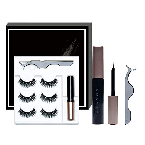 GUASIE 3 Pairs Magnetic Eyelashes with Eyeliner Kit and Tweezers Reusable False Eyelashes No Glue Needed, 3D Lashes with Natural Look, (M-01)