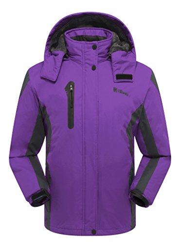 Ubon Women's Outdoor Waterproof Windproof Fleece Ski Jacket Insulated Snow Jacket(Purple,US M)