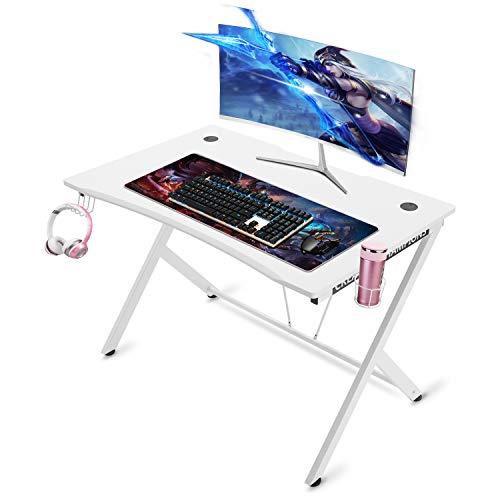 "Mr IRONSTONE White Gaming Desk 45.3"" Gaming Table Home Computer Desk with Cup Holder and Headphone Hook Gamer Workstation Game Table (45.3"" Wx29 D) (White) chair gaming white"
