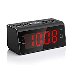 "Digital Alarm Clock Radio with AM/FM Radio, 1.2"" Big Red Digits Display, Sleep Timer, Dimmer and Battery Backup, Bedside Alarm Clocks with Easy Snooze for Bedrooms, Table, Desk – Outlet Powered"
