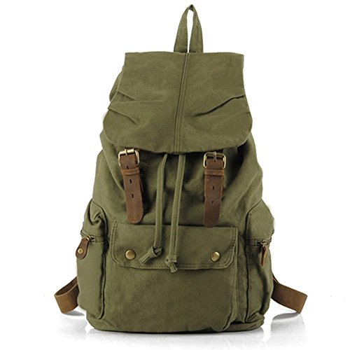 Uomo Donna Vintage Tempo libero Moda Canvas Escursionismo Viaggi militare zaino Messenger Tote Bag Video Portatile Custodia Outdoor Living Fashion Bag Student Schoolbag Size 30*48*15CM (verde)