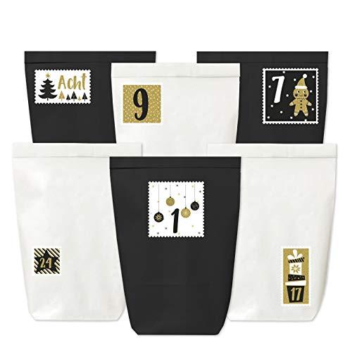 Adventskalender zum Befüllen - 24 Papiertüten in schwarz und weiß sowie 24 Zahlenaufkleber (goldene Briefmarken) - zum Selbermachen und Befüllen - Mini Set 52 - Weihnachten