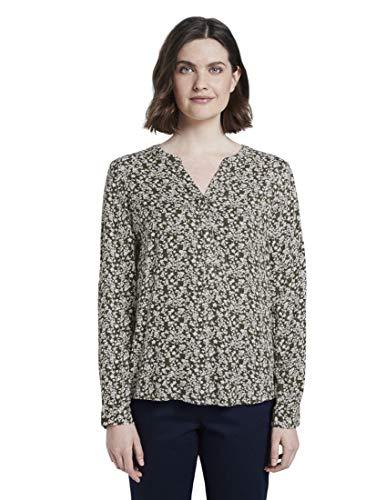 TOM TAILOR Damen Langsleeve Bluse, 22892-khaki Offwhite Flora, 38