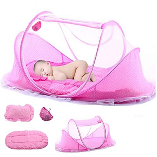 Babyzelt Reisebett Reisebett Baby Anti Mosquito Reisebettzelt Babyzelt Faltbett mit Moskitonetz, Matratze, Baumwollkissen und Musikpaket (Rosa)