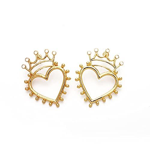 Mode Emaille Krone Herz Ohrstecker Für Frauen Mädchen Gold Hohl Weiß Schwarz Herz Ohrring Hollowwhite
