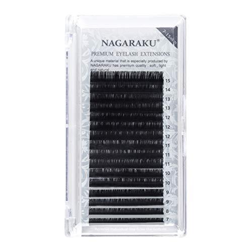 NAGARAKU - 16 filas de extensión de pestañas artificiales de visón de 7 a 15 mm de grosor, 0,15 mm, rizo J, B, C, D