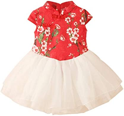LittleSpring Little Girls Holiday Dress Boutique Chinese Qipao Dress Red 5T product image
