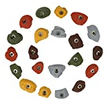 Atomik Rock Climbing Holds Set of 21 Small Bolt-On Classic Style Footholds in Assorted Earth Tones