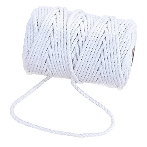 GRÜNTEK Cordel Cuerda algodón 3 Hilos macramé de 5 mm. Rollo de 60 m Blanco. para jardinería, decoración, Regalos