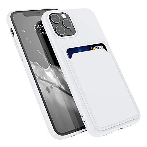 kwmobile Funda con Tarjetero Compatible con Apple iPhone 11 Pro - Carcasa Protectora de TPU Suave - Blanco