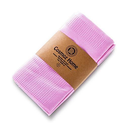 COSMOZ 5er-Set Mikrofaser Allzweck-Reinigungstücher Geschirrtücher für Haushalt, Auto, Büro, 62 x 48 cm in Pastellfarben, Oeko-TEX, Pastell Pink
