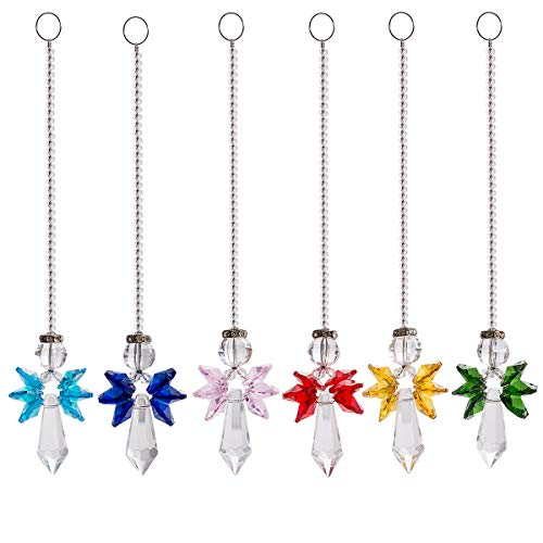 Rainbow Guardian Angel Crystal Suncatcher for Home/Car Decoration & Porch Decor & Hangings Crystal Glass Ornament Pack of 6