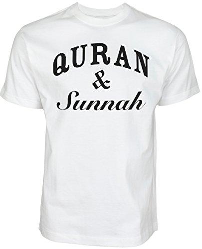 Quran and Sunnah | ISLAMISCHE Streetwear Kleidung FÜR Muslime T Shirt BEDRUCK Outdoor Islam Fashion (M, Weiß)