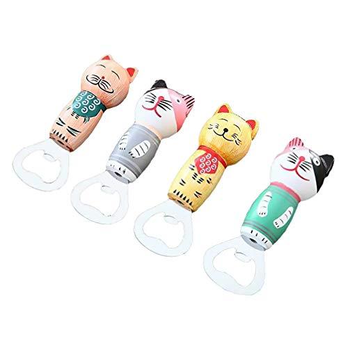 Hemoton 4Pcs Abridor de Botellas Magnético de Madera Gato Japonés Abridor de Cerveza Imán de Nevera Regalo (Estilo Mixto)