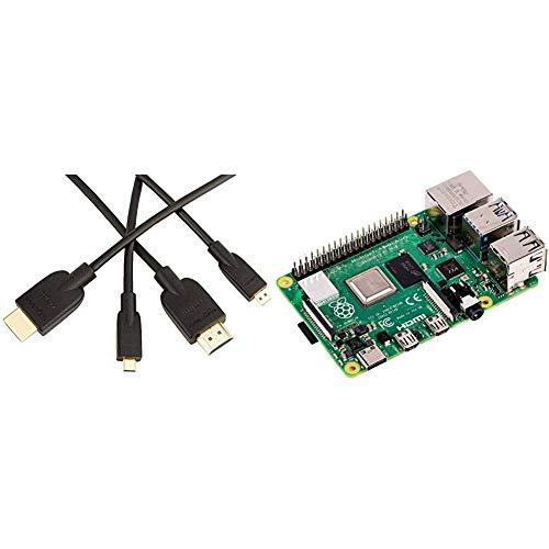 AmazonBasics - High-speed micro HDMI cable on HDMI, latest standard, 0.91 meters & Raspberry Pi 4 Modell B 4GB ARM-Cortex-A72 4x 1,50GHz, 4GB RAM, WLAN-ac, Bluetooth 5, LAN, 4x USB, 2x Micro-HDMI