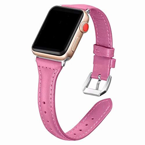 Correas Cuero Compatible con Apple Watch 42mm Series 3, Correa de Repuesto Cuero Reemplazo de Bandas Brazalete Silicona Pulsera de Repuesto Compatible con Apple iWatch 42mm 44mm Series 6 SE 5 4 3 2 1
