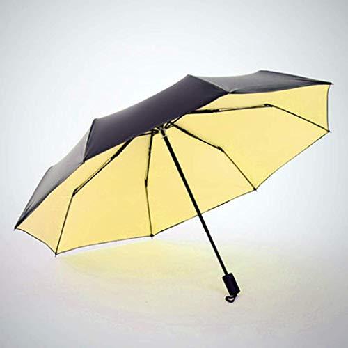 MU Paraguas Plegable Grande Automático Plegable Hombre Color sólido Sol Mujer Vinilo...