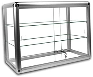 Only Hangers Elegant Silver Anodized Aluminum Display Table Top Tempered Glass Show Case. Sliding Tempered Glass Sliding Doors with Key Lock-
