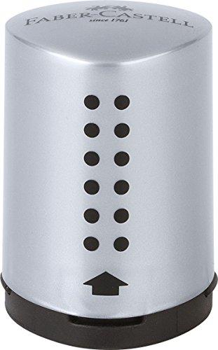Faber-Castell 183700 - Einfachspitzdose Grip 2001 Mini, auf Blister, silber