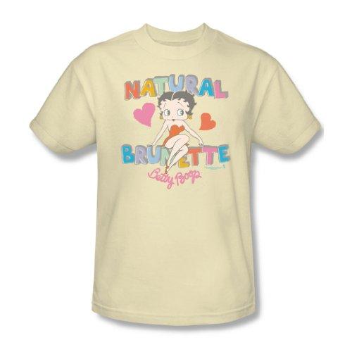 Betty Boop - Natürliche Braunhaarig Erwachsene T-Shirt in den Farben Creme, X-Large, Cream