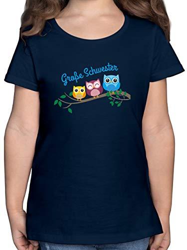 Geschwisterliebe Kind - große Schwester Eulen - 116 (5/6 Jahre) - Dunkelblau - eulen Tshirt mädchen - F131K - Mädchen Kinder T-Shirt