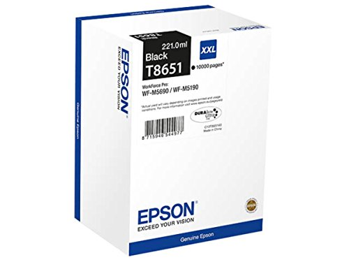 Original Tinte passend für Epson Workforce Pro WF-M 5100 Series Epson T8651, T865140 C 13 T 865140, C13T865140 - Premium Drucker-Patrone - Schwarz - 221 ml