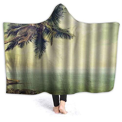 SUGARHE Tragbare Hoodie Decke,Hawaiianische rustikale Palme Rocky Shore...