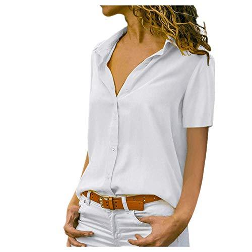 Señora Trabajo Camisa Mujeres Sólido Manga Corta Chifón Blusas Elegante Solapa Oficina Verano Blanco Amarillo Blusa Tops - blanco - XX-Large