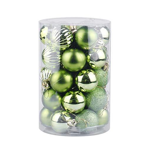 QWLHZW 34pcs del Color de la Bola de plástico, espumosos Adornos de Bolas de Navidad, a Prueba de Salpicaduras de Material, Navidad Decoraciones for Navidad casera Colgante Árbol