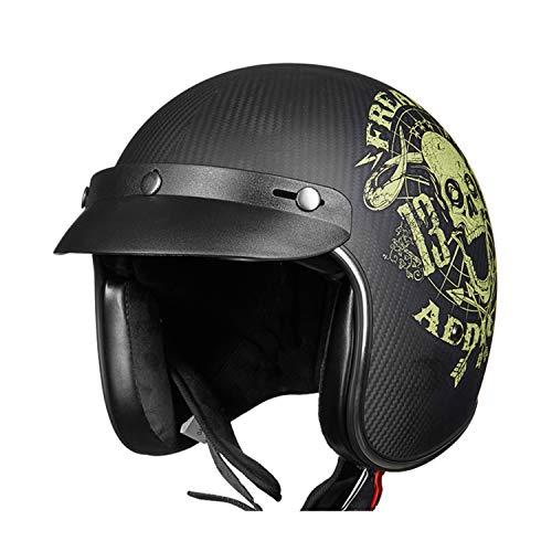 Retro Motorcycle Harley Helmet Carbon Fiber Lightweight Men and Women DOT ECE Certification Best Personality Half Helmet Modular Sun Visor Opening Decal Motorcycle Bicycle Black Helmet,2,M