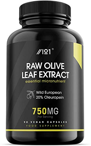 Olive Leaf Extract Capsules - 11,250mg - Wild European 20% Oleuropein (750mg 1:15 Extract), 90 Vegan Capsules - No Additives — Non-GMO, Gluten Free.