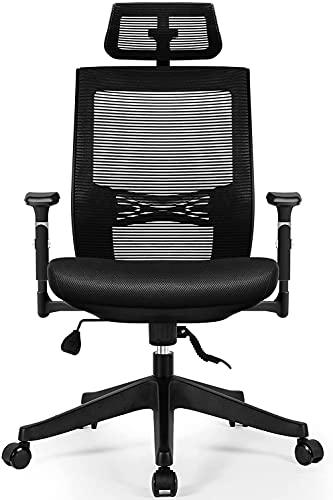 Aiidoits Bürostuhl, Bürostuhl Ergonomisch, Schreibtischstuhl mit Einstellbarer Kopfstütze, Armlehnen und Lordosenstütze, Höhenverstellbarer Drehstuhl Chefsessel, Hautfreundliche Netz, Bürostuhl 150 kg