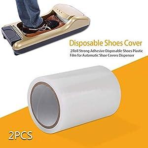 D&F Dispensador De Cubiertas De Zapatos,Cubrezapatos Desechables Membrana Film 5.91x4.13 Inch para el hogar, la Oficina,Centro Comercial (2 Rollos -1200 Moldes De Zapatos)