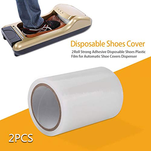 D&F Cubrezapatos Desechables Membrana Film 5.91x4.13 Inch para el hogar, la Oficina,Centro Comercial (2 Rollos -1200 Moldes De Zapatos)