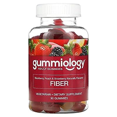 Gummiology Adult Soluble Fiber Gummies, Natural Peach, Strawberry, & BlackBerry Flavors, 90 Vegetarian Gummies
