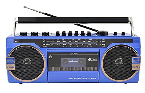 KOIJWWF Radio Antigua, grabadora de la grabadora de la grabadora de la grabadora de segmentos de Cuatro Ondas de Alta Potencia Radio USB Tarjeta SD, Soporte Bluetooth